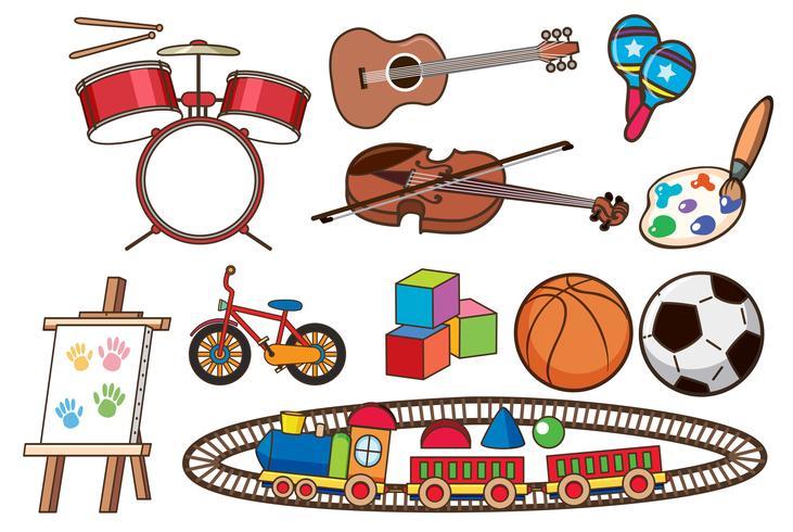 Conjunto de diferentes juguetes vector