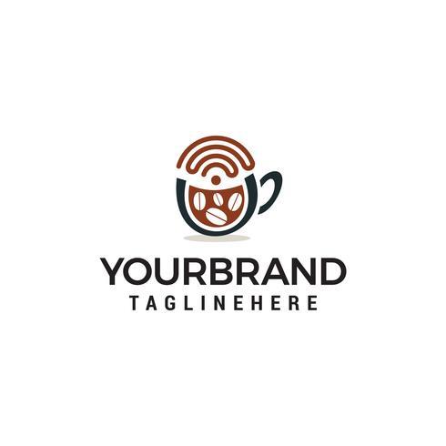 Tasse de café avec wi-fi icône logo design concept template vecteur