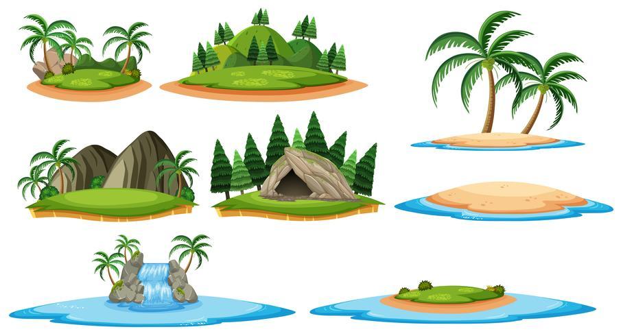 Olika öar och skogscener