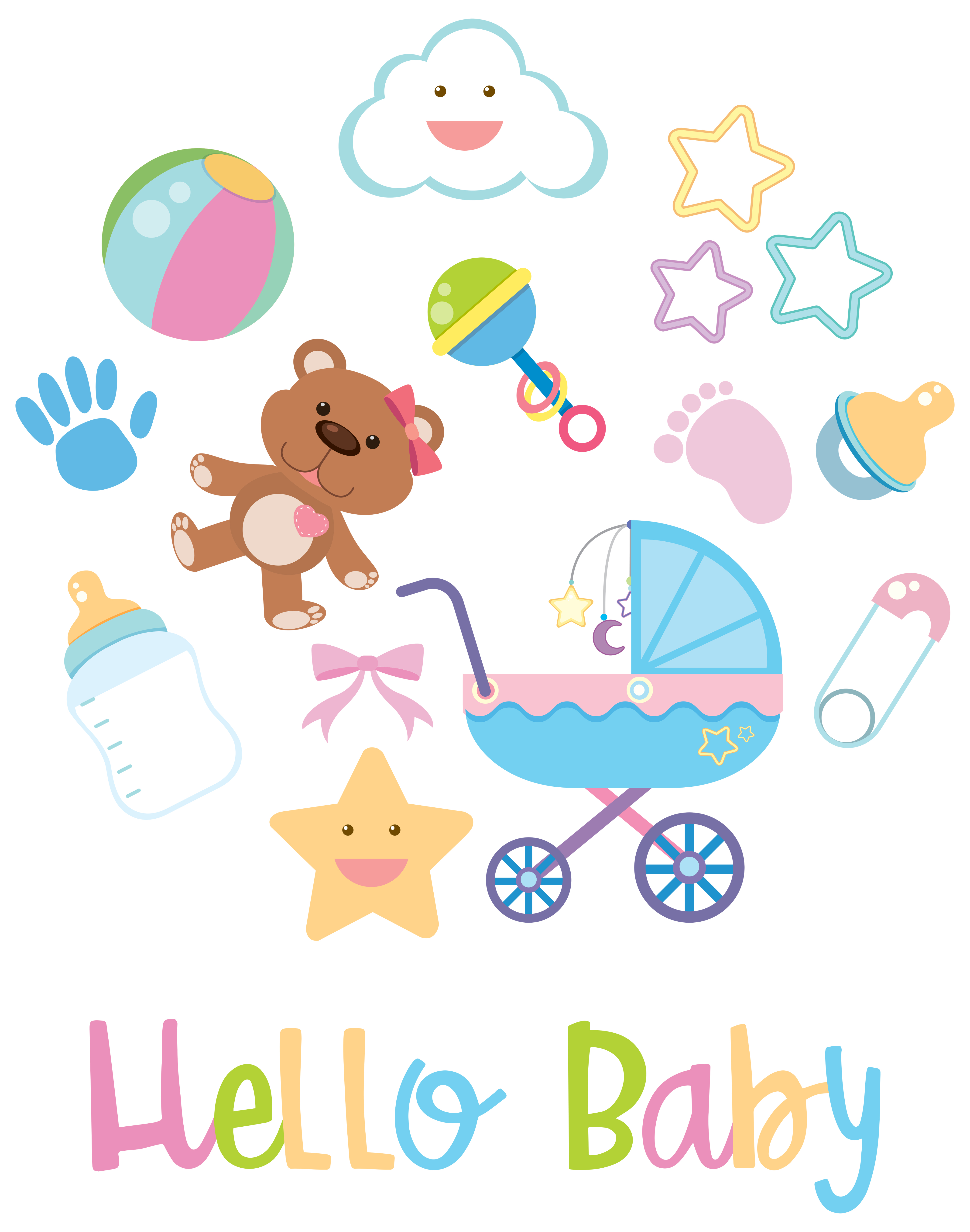 Baby items on white background - Download Free Vectors ...