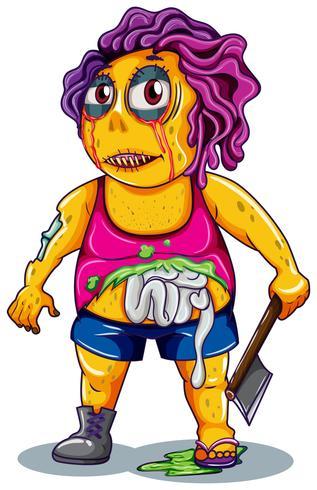 En zombie karaktär på vit bakgrund