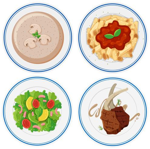 Four plates of different food