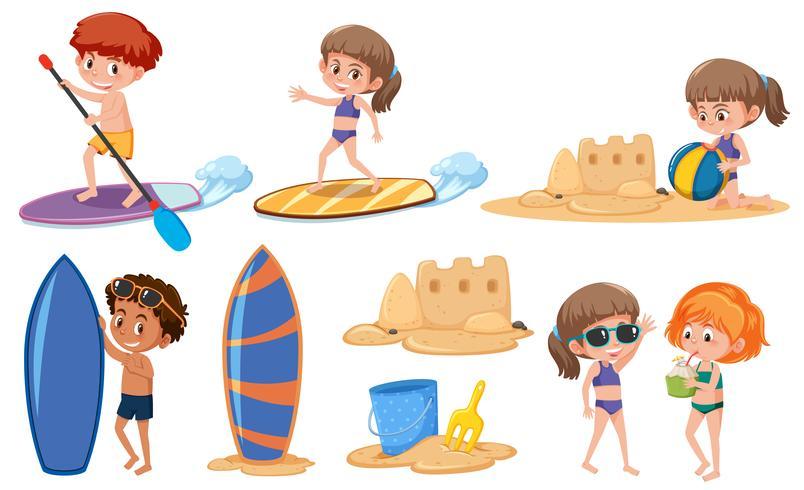 Set di bambini in vacanza estiva