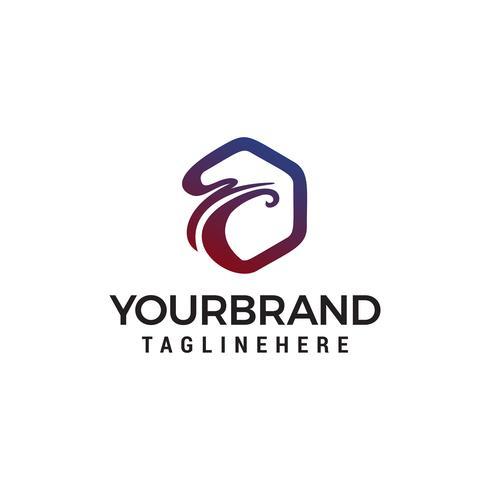 Vogel Sechseck Logo Design Konzept Vorlage Vektor