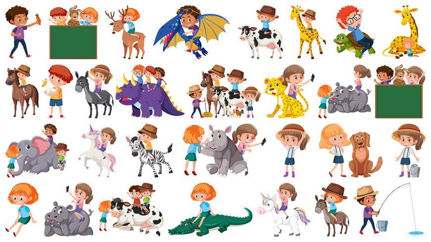 Set van kinderen en dieren