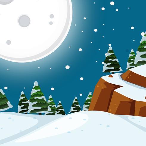 Scena notturna della neve