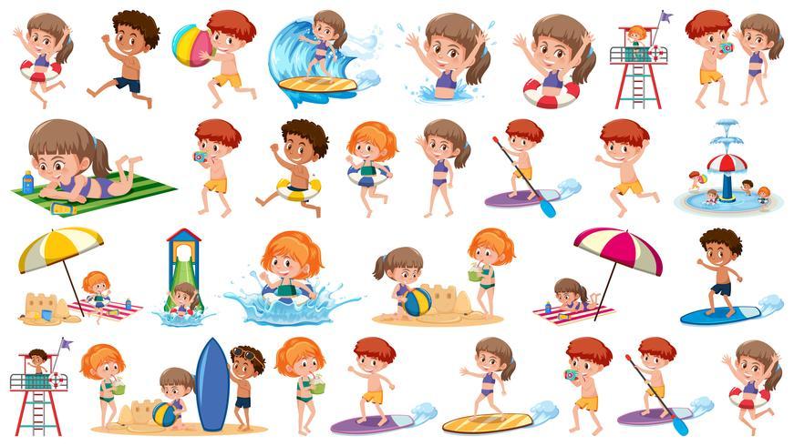 Conjunto de niños de vacaciones
