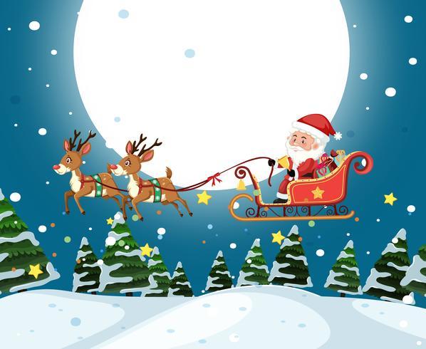 Santa riding sleigh christmas template vector