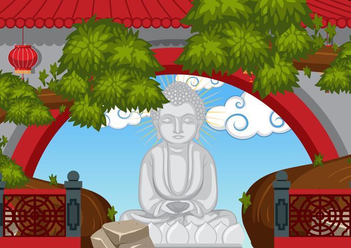 Estatua de Buda detrás de la pared vector
