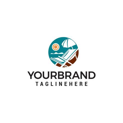 panoramische zomer zee logo ontwerp concept sjabloon vector