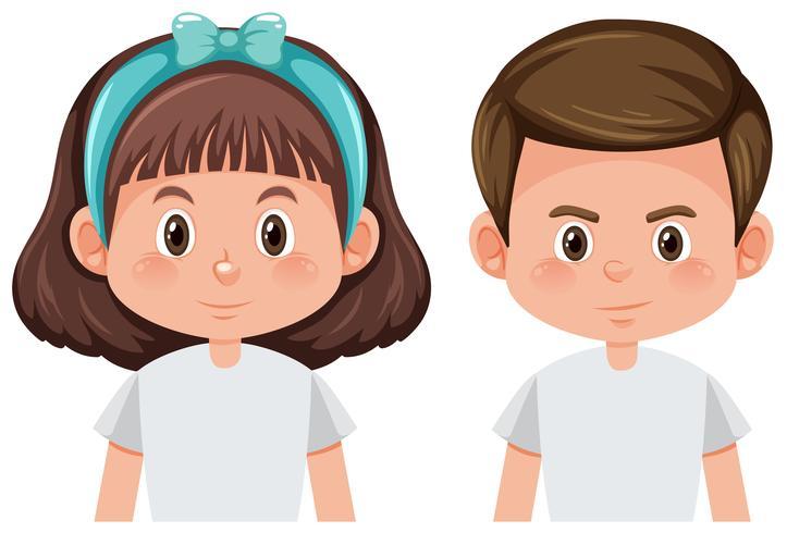 Fondo blanco chico y chica vector