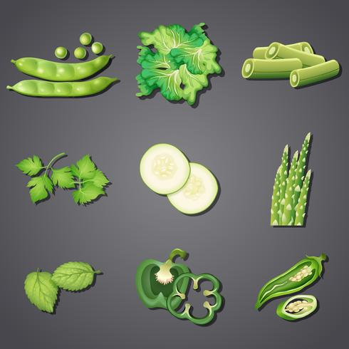 En uppsättning av färska gröna grönsaker
