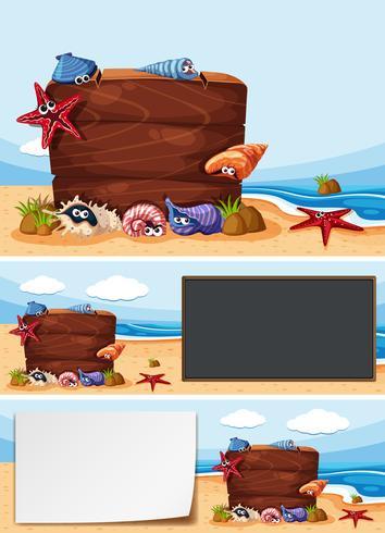 Tres tablas en la playa vector