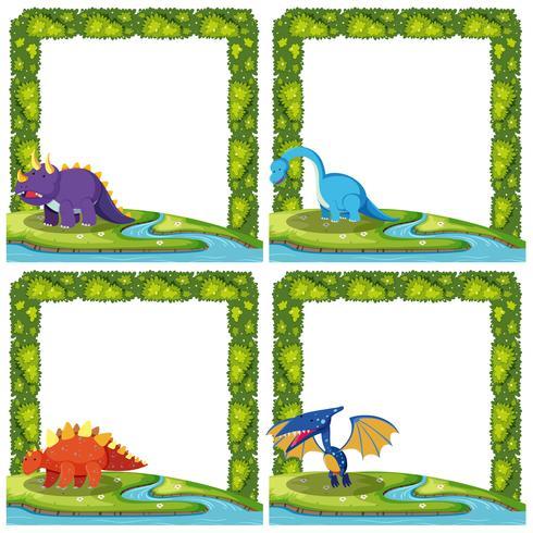 Set av dinosaur på gränsmall