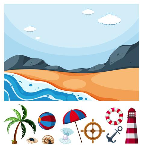 Ocean scene with different beach items vector