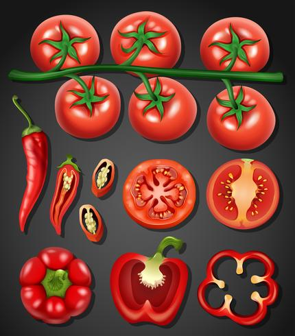 En uppsättning av tomat och chili