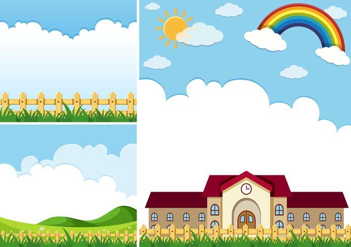Drie achtergrondtaferelen met blauwe hemel