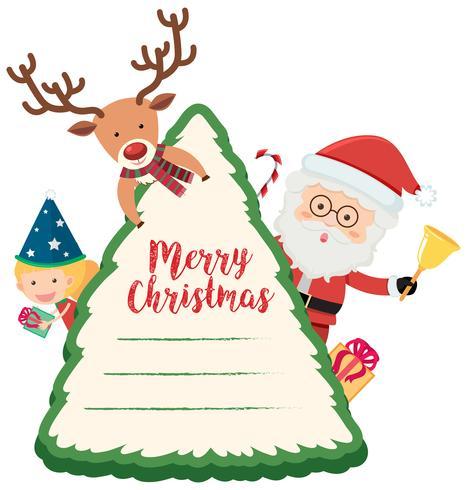 Tarjeta navideña con reno y santa. vector