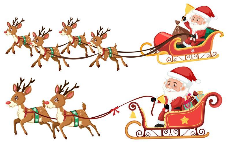 Trenó de equitação de Papai Noel em fundo branco
