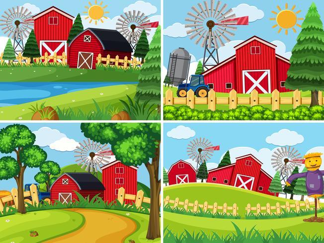 Set of farmland landscape vector