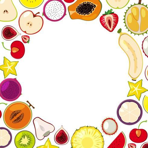 Una plantilla de coloridas frutas tropicales