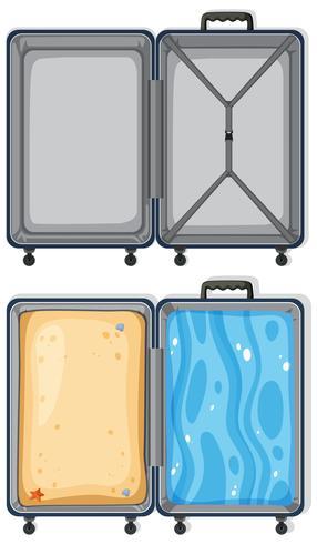 Satz leeres und gefülltes Gepäck