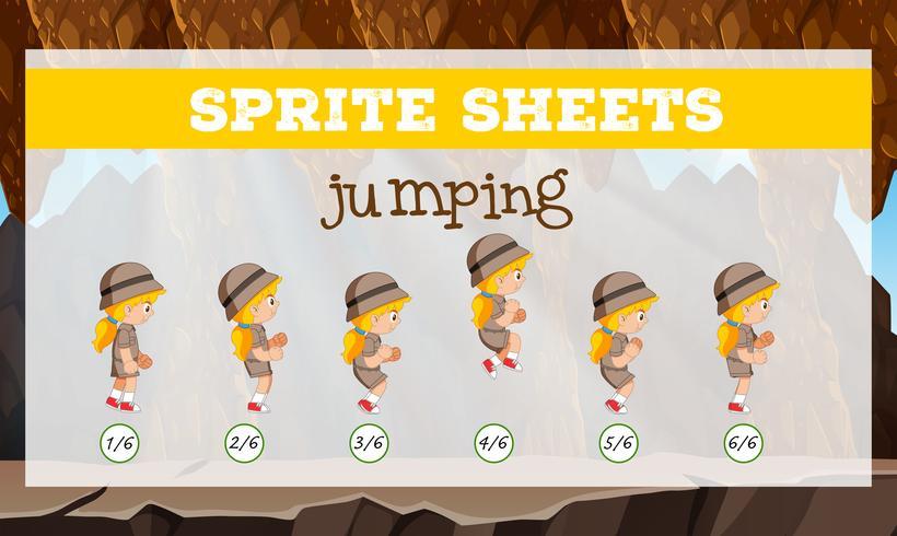 Sprite Sheet meisje springen