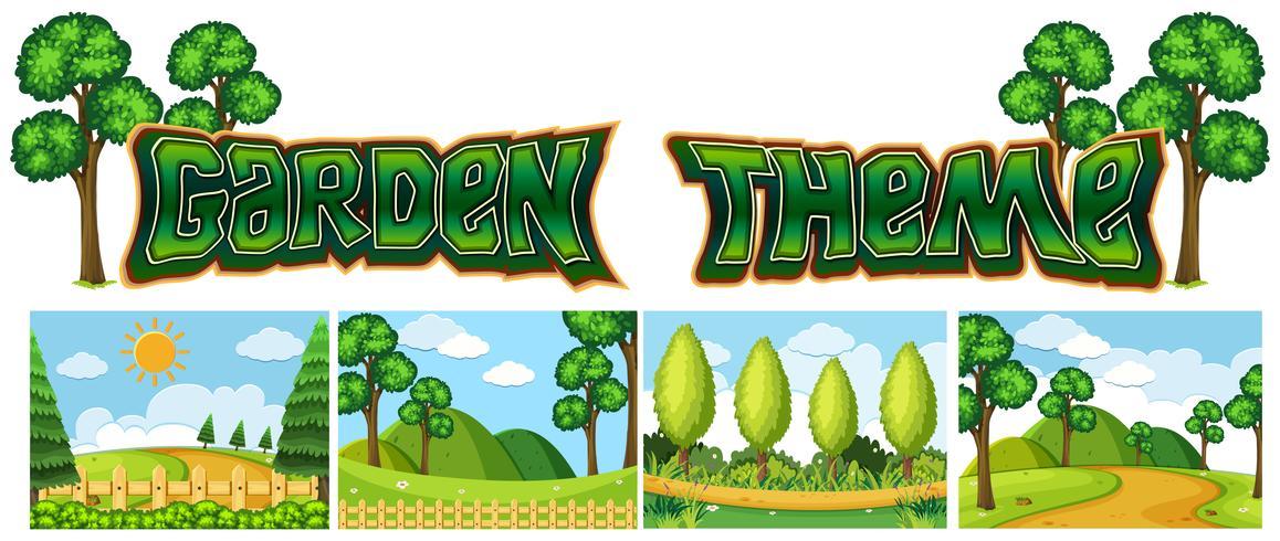 Conjunto de paisaje de jardín