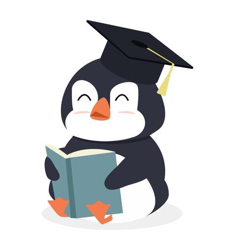 Cartoon pinguïn lezen boek vector