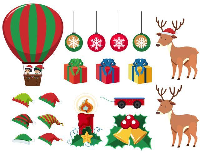 Kerst elementen met cadeautjes en rendieren