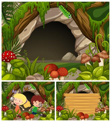 Crianças, olhar, insetos, caverna