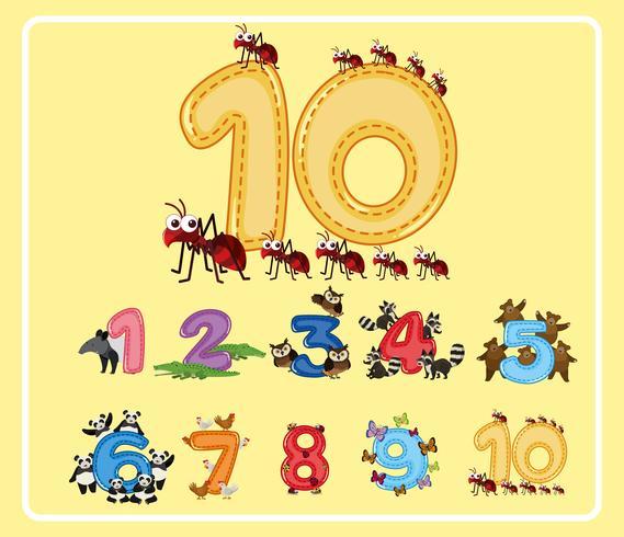 Zahlen von eins bis zehn mit niedlichen Tieren