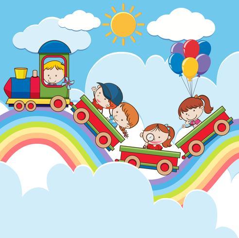 Barn på tåg på Rainbow Road