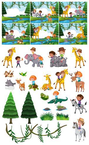 Set di bambini in natura