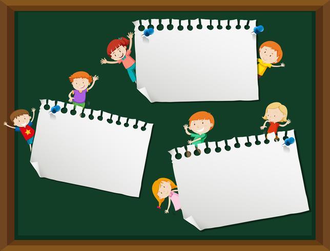 Kinderen met lege notitie sjabloon