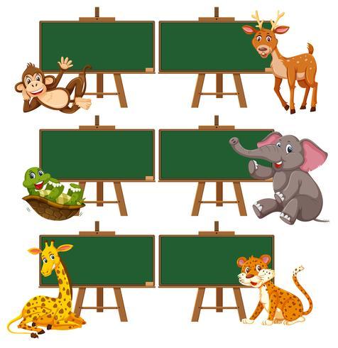 Een set dieren en schoolbord
