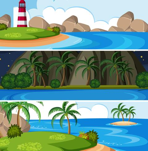 Set of island landscape