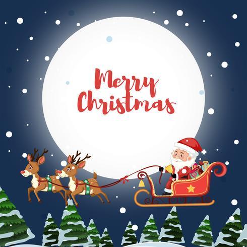 Santa claus ridning släde på himmel vektor