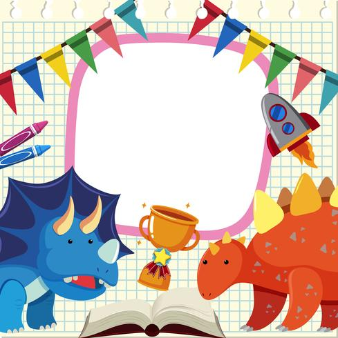 Banner template with dinosaurs and trophy
