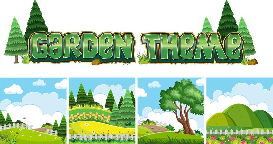Garden theme naure scene