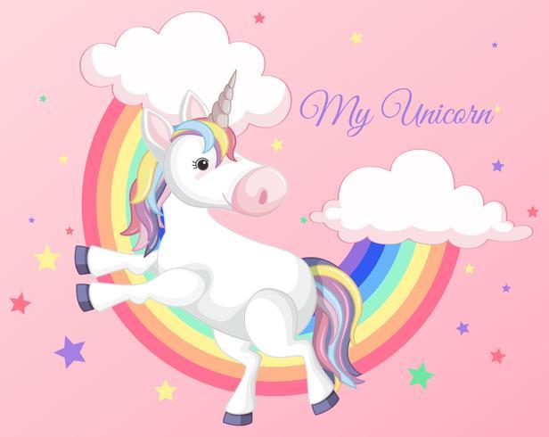 Unicorno con arcobaleno su sfondo rosa