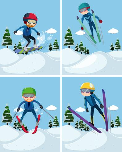 Four scenes with people skiing on mountain