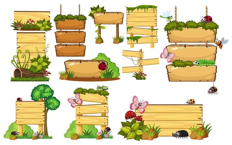 Conjunto de carteles de madera.