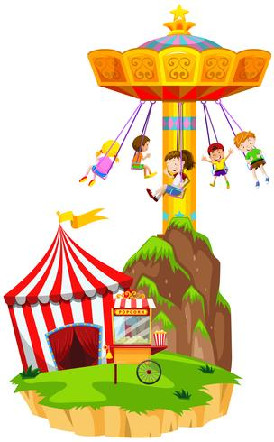 Children playing giant swing at funpark
