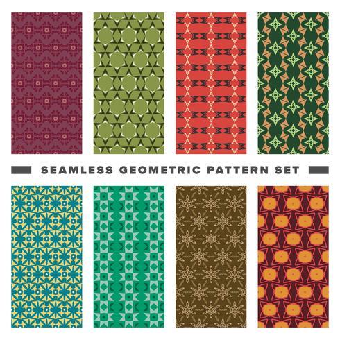 Set of seamless decorative geometric shapes pattern vector