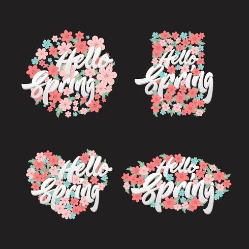 Bonjour printemps lettrage avec ensemble d'illustrations fleurs éléments