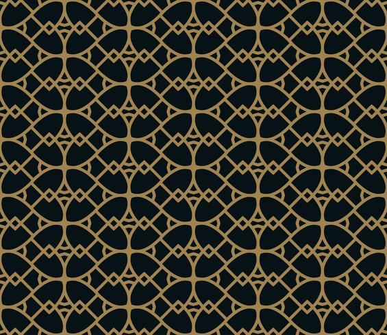 Motif linéaire sans couture avec croisement de lignes courbes avec col en or