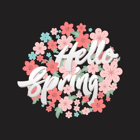 Hallo Frühlingsblume Kreis Entwurfsvorlage.