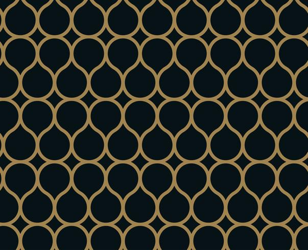 Seamless linear pattern with crossing curved lines with gold col