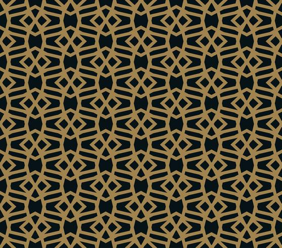 Seamless pattern of intersecting thin gold lines on black background. Abstract seamless ornament.